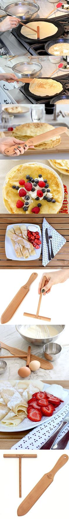 Crepe Making Kit 2-Piece Set (6-inch Crepe Spreader and 14-inch Spatula) Convenient Size to Fit Large Crepe Pan Maker   All Natural Beechwood Construction only From Indigo True Company