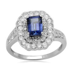 Sterling Silver Emerald Cut Created Ceylon Sapphire Ring: Jewelry: Amazon.com