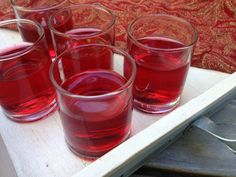 This cranberry-flavored jello shot is appropriate for American Thanksgiving or anytime of year. I usually put trays of these out on the table prior to my Thanksgiving potluck with friends. Warning: they are pretty strong. Recipe originally from Saveur magazine November 2004.