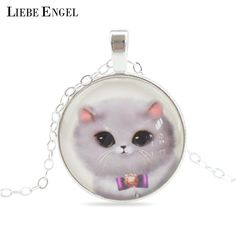 Cute Cat Silver Color Jewelry Classic Glass Cabochon Statement Necklace&Pendants Fashion Collares Fine Jewelry For Women 2015