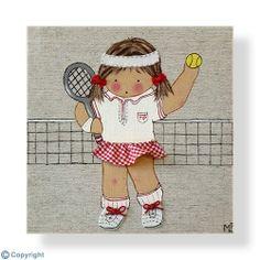 Cuadro infantil personalizado: Niña tenista (ref. 12023-01) Jouer Au Tennis, Baby Co, Twinkle Twinkle, Paper Dolls, Fabric Crafts, Decoration, Diy And Crafts, Art Deco, Kids Rugs