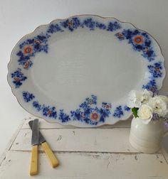 Beautiful large antique Grindley flow blue platter by EmmaAtLHV