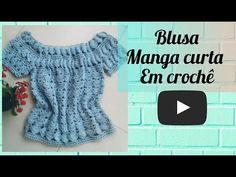 BLUSA MANGA CURTA EM CROCHÊ - YouTube Crochet Summer Tops, Crochet Crop Top, Crochet Blouse, Crochet Diy, Crochet Skirts, Crochet Clothes, Crochet Videos, Crochet Stitches, Pullover