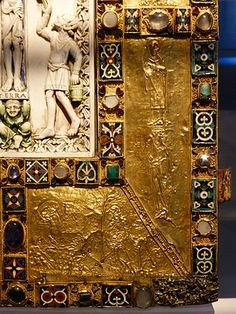 A corner of the cover of the Codex Aureus of Echternach, Trier, Germanisches Nationalmuseum. Ottonian, Four Gospels, Byzantine, Innovation Design, Romans, Art History, Cover, Painting, Canon