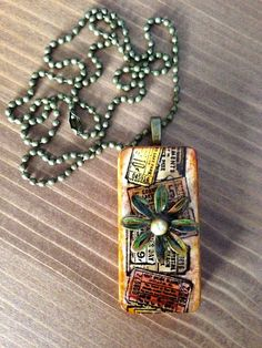 """Upcycled Alcohol Ink """"Vintage Tickets with Flower"""" Domino Pendant by CraftyColettes, on Etsy"""