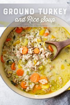 Turkey and Rice Soup Recipe - This hearty veggie, turkey and rice soup is an easy family dinner idea.Ground Turkey and Rice Soup Recipe - This hearty veggie, turkey and rice soup is an easy family dinner idea. Ground Turkey Dinners, Ground Turkey Soup, Healthy Ground Turkey, Healthy Turkey Recipes, Turkey Burger Recipes, Easy Soup Recipes, Crockpot Ground Turkey Recipes, Paleo Recipe For Ground Turkey, Cleanse Recipes