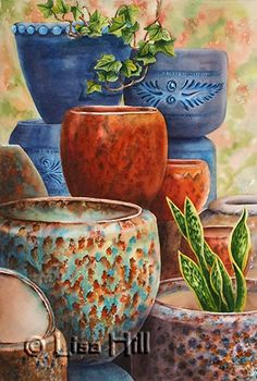 Watercolor demonstration of pottery by Lisa Hill  Step 6