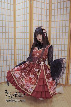 【To Alice】L278原创和风花魁柄蕾丝姬袖衬衫+jsk背心裙【定金】