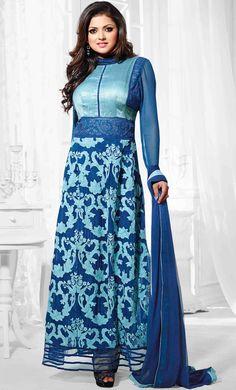 USD 60.27 Blue Georgette Ankle Length Anarkali Suit 47264