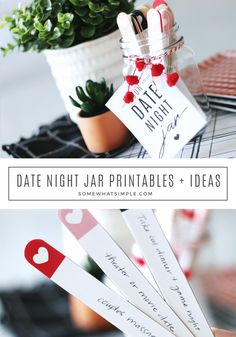 Date Night Jar + Free Printables Date Night Jar + Free Printables This date night jar is a fun and easy way to come up with new date night ideas! This date night jar is a fun and easy way to come up with new date night ideas! Creative Date Night Ideas, Romantic Date Night Ideas, Cute Date Ideas, Romantic Dates, Date Ideas Jar, Fun Ideas, Romantic Surprise, Gift Ideas, Card Ideas