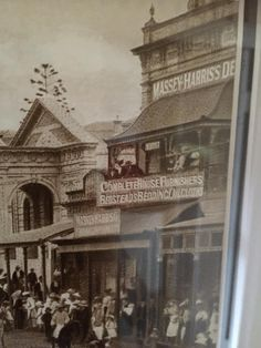 The old Royal Bank of Queensland Building, built in 1892. Was also the headquarters of the famous Gympie Music Muster. Photo taken in late 1800's with horses drawn carriages in the street.