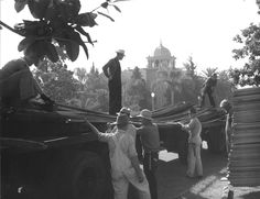 During the Depression, Fullerton applied for and recieved more federal relief funds than any other city in Orange County.  In this 1940 photo, WPA workers are constructing the new city library on North Pomona.  In the background is the First Baptist Church (1912) designed by Frederick Eley (1884-1979), Orange County's first architect.  Eley designed over 125 buildings in the county, including the Fullerton General Hospital at 201 East Amerige.