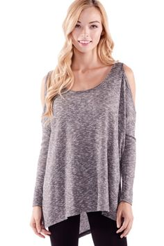Keep your friends close, and the Good Company Charcoal Grey Cold Shoulder Top closer! Cozy knit fabric in speckled charcoal grey shapes a drapey cold-shoulder bodice with a rounded neckline and side slits playing against a high-low hem. Long fitted sleeves showcase vertical ribbing down to the wrist. Shop the top at HERBOUTIQUE.COM!