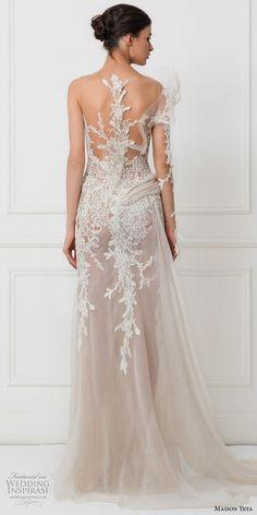 maison yeya 2017 bridal one side long sleeves heavily embroidered bodice elegant glamorous lace sheath wedding dress illusion lace back sweep train (3) bv: