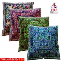 X2 *EMBROIDERED CUSHION COVERS*  THAI SILK, SIZE 17  LIVING DINING ROOM