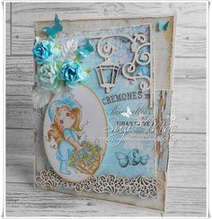 Scrap & Craft Inspirations DT - Pretty shades of Blue !! using products from www.scrapandcraft.co.uk #cards #crafts #chipboard #magnolia #flowers #lemoncraft