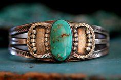Early Ingot Silver Turquoise Cuff Bracelet Navajo Sterling