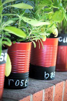 Vegetable Can Herb Garden... I wish I had a back yard.