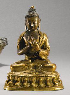 十八世紀 鎏金銅大日如來佛坐像