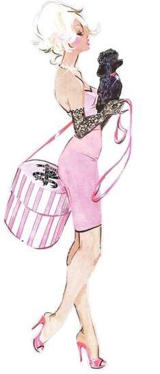 Girly girl babydoll pink and a poodle Grant Cowan art illustration dollbaby Art And Illustration, Arte Fashion, Alphonse Mucha, Oui Oui, Everything Pink, Up Girl, Fashion Sketches, Fashion Illustrations, My Favorite Color