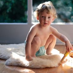 Sheepskin Rug for Babies and Toddlers. Warm in winter, cool in summer. From Bella Luna Toys. $79.95