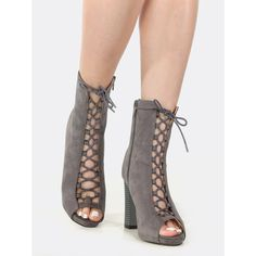 SheIn(sheinside) Peep Toe Lace Up Chunky Heel Booties GREY (87 BAM) ❤ liked on Polyvore featuring shoes, boots, ankle booties, lace up boots, chunky booties, peep toe chunky heel booties, grey boots and chunky heel ankle booties
