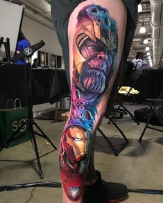 Fantastic portraits by ! Avengers Tattoo, Marvel Tattoos, Weird Tattoos, Tattoos For Guys, Dc Tattoo, Los Mejores Tattoos, Tattoo Convention, Comic Books Art, Captain Marvel