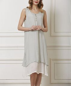 Another great find on #zulily! Gray & White Ruffle Henley Dress - Plus #zulilyfinds