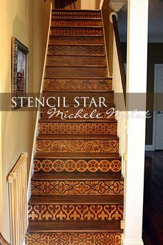 Michele Molek's faux wood marquetry finish on staircase using stencils by Modello Designs | Paint + Pattern