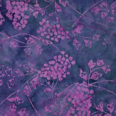 Navy with Purple Bushes Cotton Batik Fabric. $8.50, via Etsy.