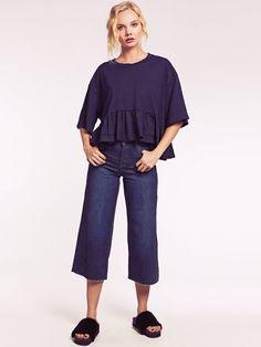 Dahlia Demi Blue Raw Hem Wide Leg Denim Culottes Denim Culottes, Wide Leg Denim, Dahlia, Normcore, Legs, Blue, Style, Fashion, Swag