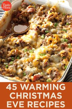 45 Warming Christmas Eve Recipes If you're spending Christmas Eve caroling, than these warm recipes are for you. In this collection you'll find soups, hot beverages, hearty casseroles and more to help you get warm after a night outdoors. Christmas Eve Meal, Christmas Dishes, Christmas Cooking, Holiday Dinner, Christmas Parties, Christmas Treats, Christmas Time, Christmas Lunch Ideas, Christmas Drinks