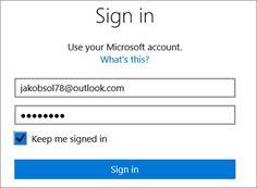 Voorbeeld van een sign in tool bij microsoft, met als 'voordeel' een keep me signed in knop