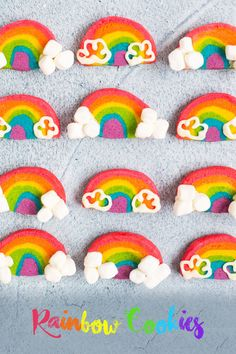 Rainbow Cookies | Deliciously Declassified Rainbow Sugar Cookies, Cloud Shapes, Gel Food Coloring, Mini Marshmallows, Candy Melts, Confectioners Sugar, Cookies Ingredients, White Chocolate Chips, Winter Activities