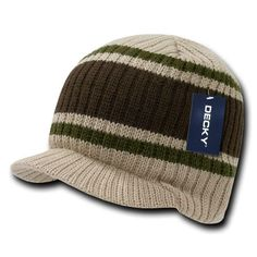 Khaki Visor Brim Jeep Knit Army Warm Winter Ski Skull Beanie Beanies Hat Hats