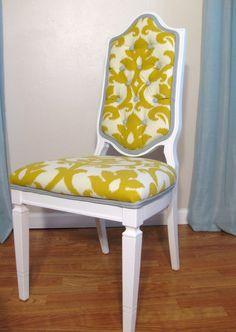 Fantastic upholstery job and great refurbish of vintage chair.  LOVE