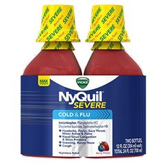 Vicks NyQuil Severe Cold and Flu Nighttime Relief Berry Flavor Liquid Twin Pack, 2 x 12 Ounce