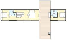 Prefab bungalow plattegrond met guesthouse
