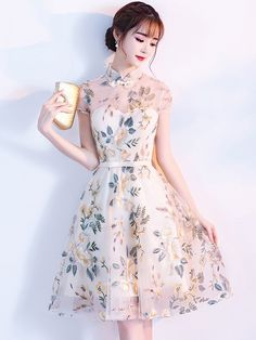 Embroidered A-Line Illusion Qipao / Cheongsam Dress