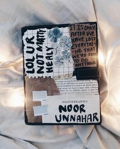 art journal cover by Noor Unnahar https://www.instagram.com/noor_unnahar/  // journaling, scrapbooking, diy, crafts, tumblr white aesthetic hipsters, artsy artists, notebook ideas inspiration, bullet journal, flatlay, teen diy idea //