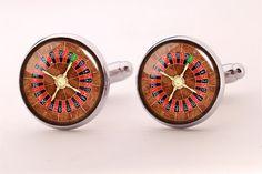 Roulette Wheel Cufflinks,Photo Cufflinks,Groomsmen Wedding Cufflinks