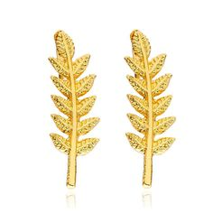 One Pair Women Girl Gold Silver Color Black Punk Cool Charm Leaf Earring Stud aretes donna Jewelry