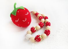 Red strawberry crochet necklace and soft by LittleSweetCandyShop