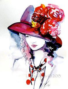 Original Fashion Illustration Watercolor Painting by by LanasArt, $55.00