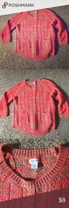 3/4 sleeve soft sweater Super soft and comfy Jaclyn smith coral sweater with 2 front pockets. Like new, cotton/acrylic blend ... Machine wash cold and line dry Jaclyn Smith Sweaters Crew & Scoop Necks