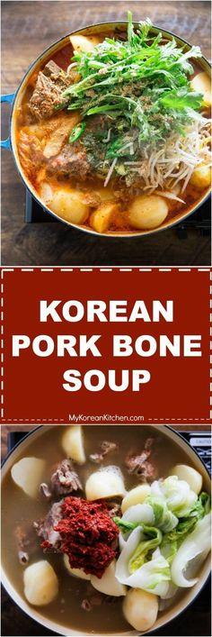 Gamjatang (Pork Bone Soup) How to Make Gamjatang (Spicy Korean Pork Bone Soup) Spicy Korean Pork, Korean Food, Pork Recipes, Asian Recipes, Cooking Recipes, Korean Soup Recipes, Recipies, Kiss The Cook, Pork Bone Soup