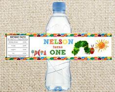 Kleine Raupe Nimmersatt Geburtstag Party Wasserflasche Label bedruckbar