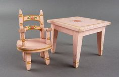 ... Vintage Child's Table and Chair Pink Painted Tynie Toy Dollhouse