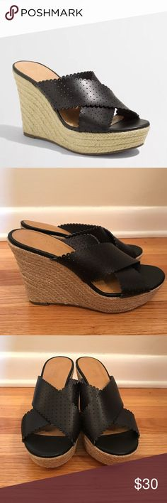 J Crew Factory Black Eyelet Wedges Beautiful J. Crew Factory Wedges. Size 7. Only worn once. Please comment if you have any questions! #wedges #jcrew J. Crew Shoes Wedges