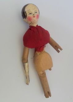 Large Grodnertal Wooden Doll c1850